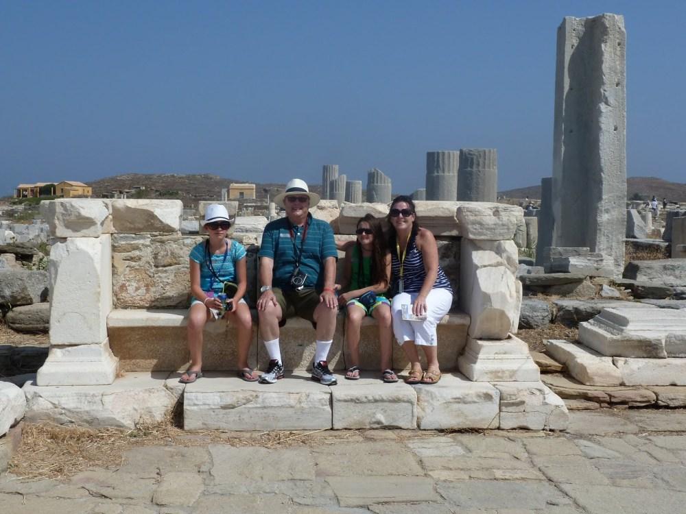 Family posing in Delos