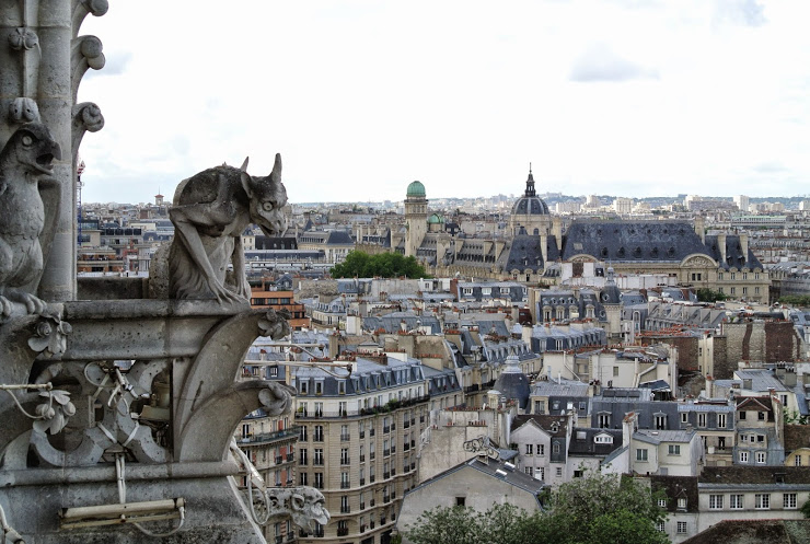 A chimera sits atop Notre Dame
