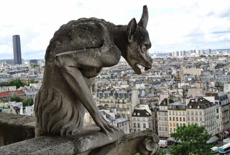 One of Architect Eugene Violet-le-Duc's chimeras sits atop Notre Dame